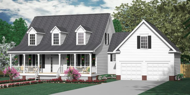 24 best images about 1 1 2 story house plans on pinterest for 2 car garage with bonus room