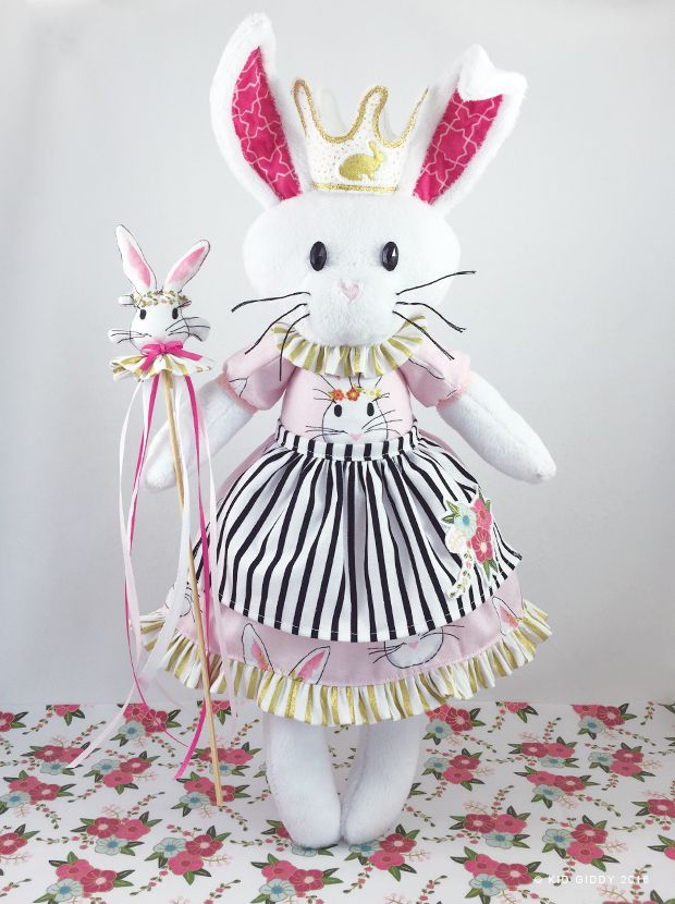 Queen Phoebe of Wonderland (fabrics by @polkadotchair from @rileyblake) using  Kid Giddy dies from @Sizzix  Easter Bunny Rabbit