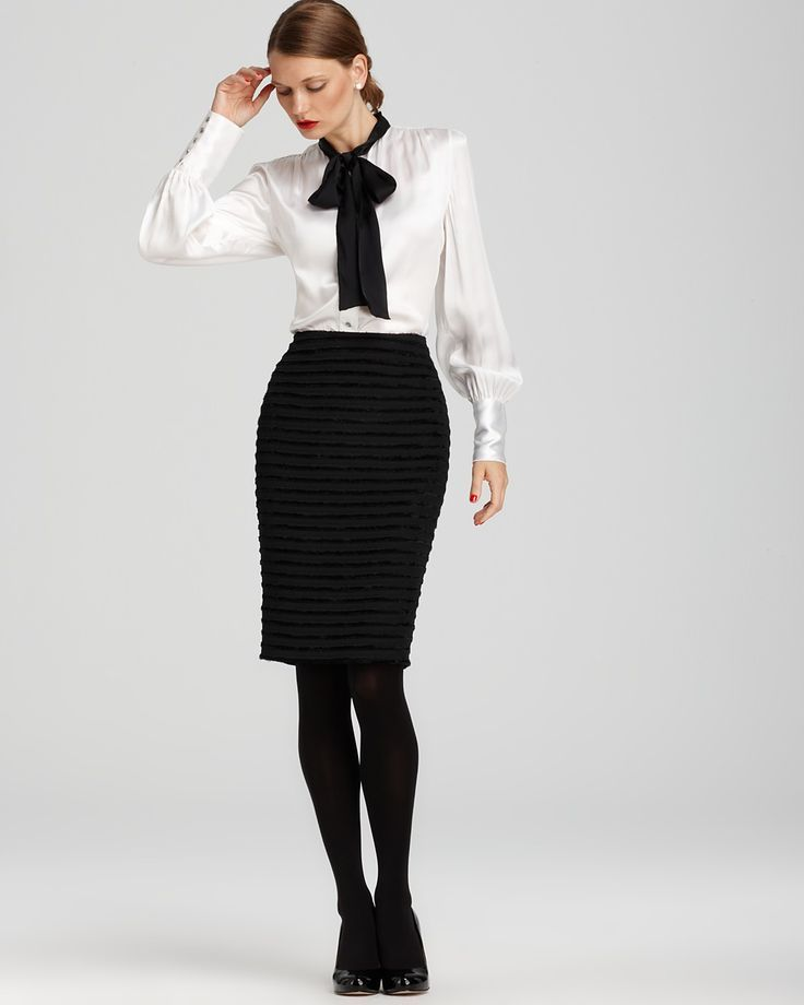 White Satin Pencil Skirt 2