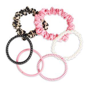 Set med 6 elastiska hårsnoddar i olika mönster.<br><br>