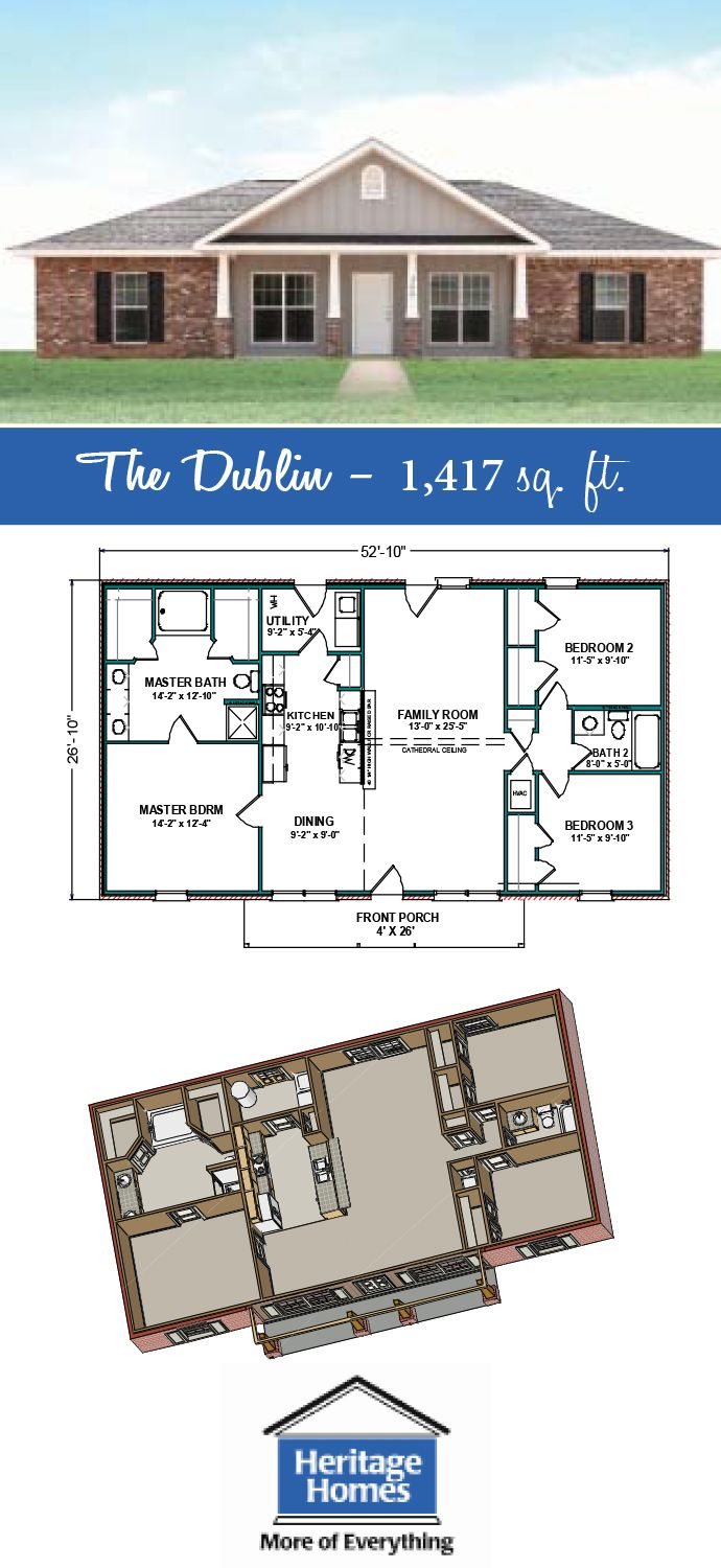 1 400 1 500 Sq Ft Floor Plan The Dublin Is 1 417 Square Feet Home With 3 Bed 2 Baths Build This N Metal Building Homes Building A House Shop House Plans