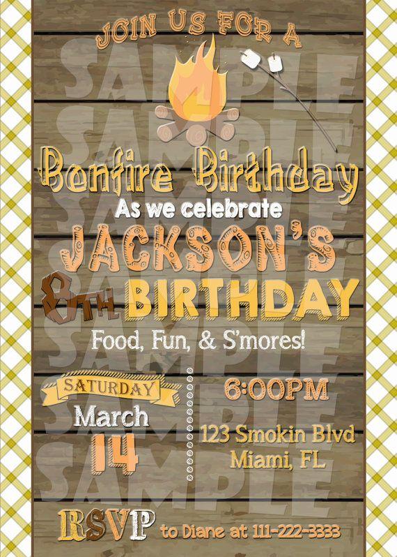 Printable BONFIRE BIRTHDAY INVITATION by ShinySparklyParties