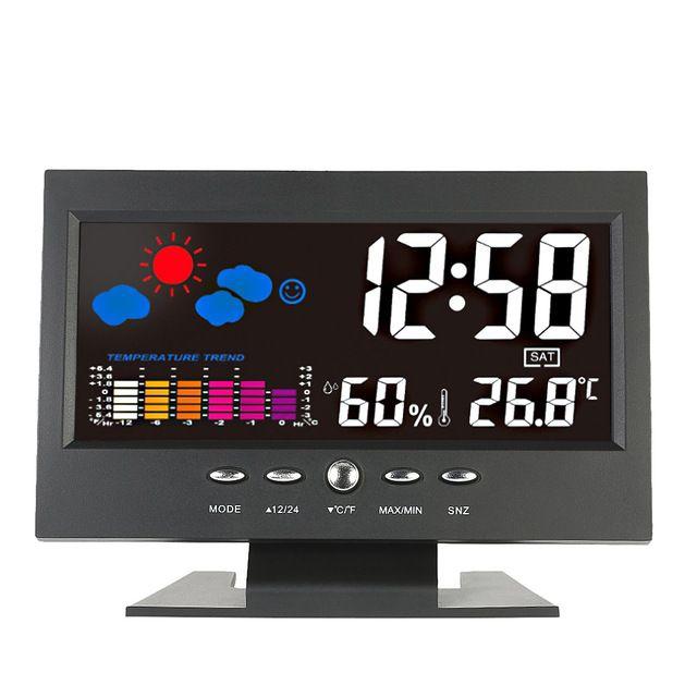Temperatura Digital Medidor de Umidade Termômetro Relógio Calendário Higrômetro Temperatura Tendência Previsão do tempo de Alarme de Nível de Conforto