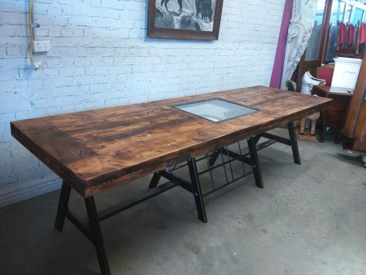 Industrial style alfresco table