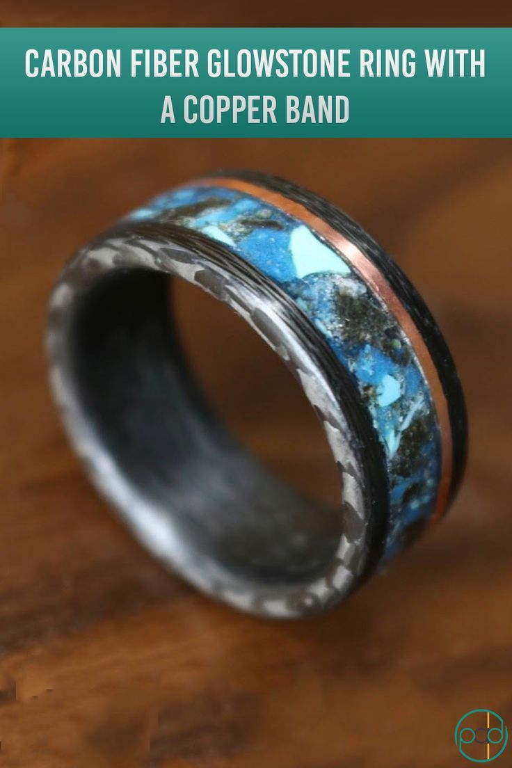 Carbon Fiber Glowstone Ring With A Copper Band And Black Marble And Turquoise Inlay Glow Glowring Carbonfiber Rings Wedding Rings Engagement Rings For Men