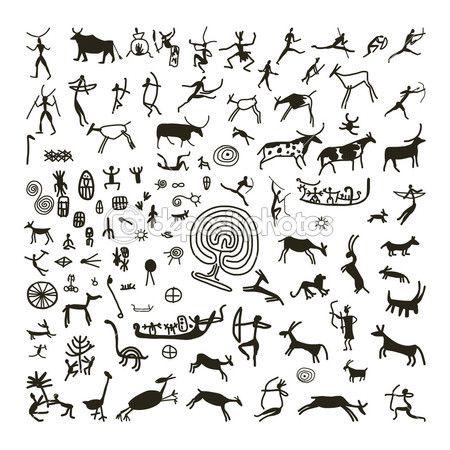 Pinturas rupestres, boceto para su diseño — Vector de stock