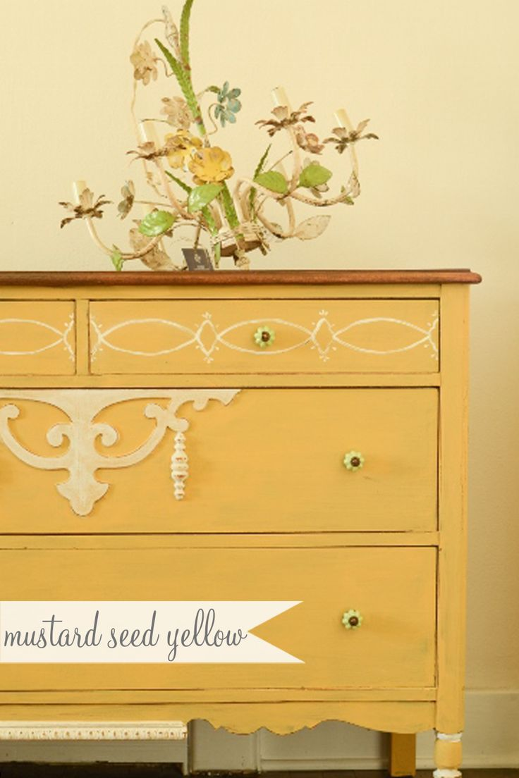 Inspiration For Furniture Redo: Miss Mustard Seed Yellow Painted Dresser