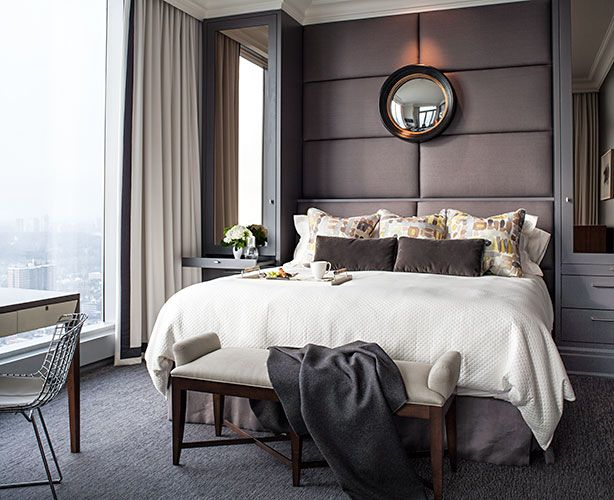 powell and bonnell design inc elegantly designed bedroom in a city apartment warm