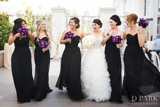 black and purple wedding  I really like these dresses