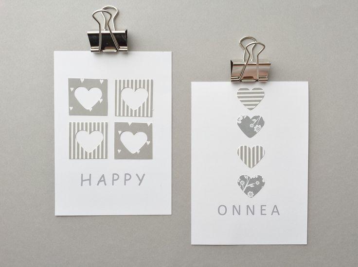 www.facebook.com/kotona.sisustustuotteet KORTTI harmaa-valkea: HAPPY ja ONNEA