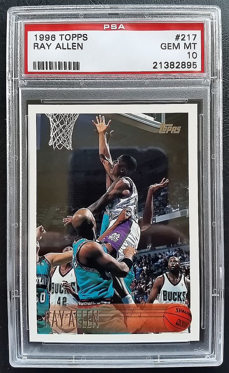 1996 topps basketball ray allen rookie card 217 graded