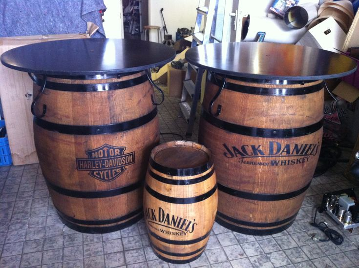 Jack Daniel's and Harley Davidson barrel bar-tables available at http://www.benniesfifties.com