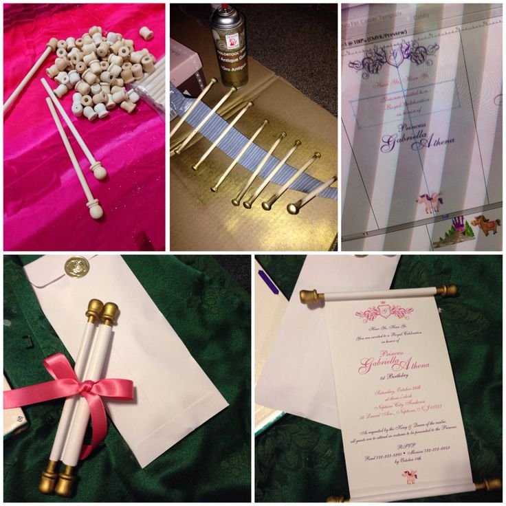 Hand-made scroll invites for my friend's daughter's 1st birthday disney princess theme party.