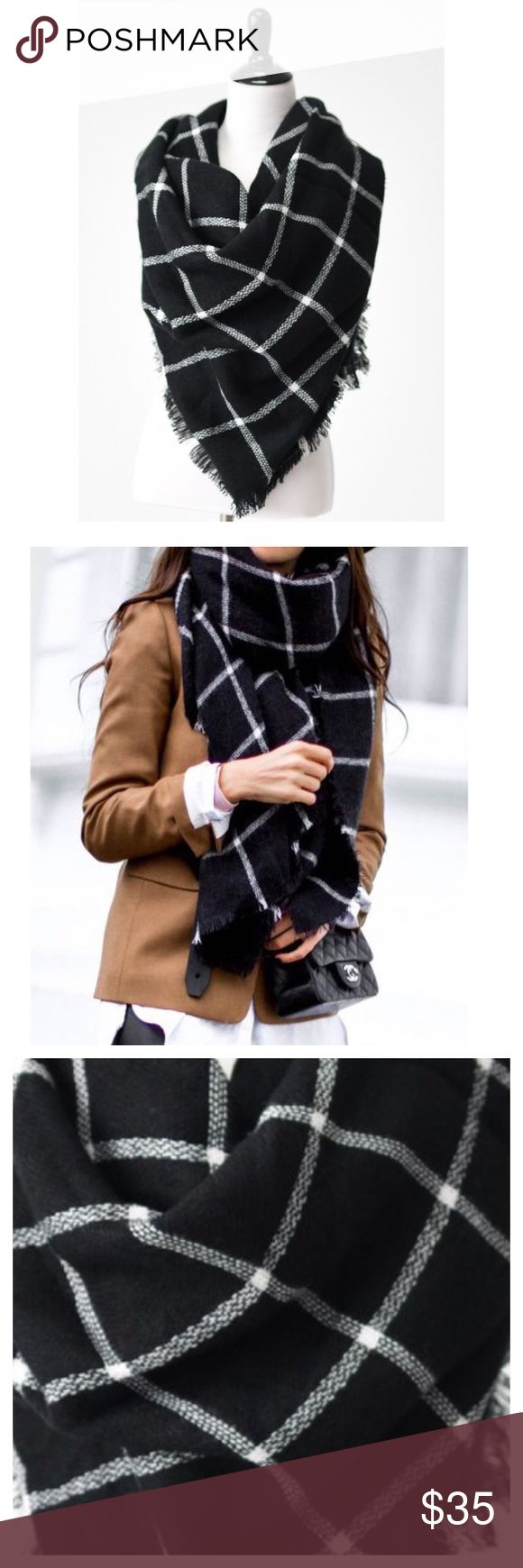 """✨HP✨Flash Sale-Black And White Plaid Blanket Scarf Host Pick- Style Crush Party. This listing is for a super soft and comfortable blanket scarf. Black and white blanket scarf. Feel warm and cozy whilst looking chic. 100% Acrylic. Dimension: 54""""x54"""". Looks great with a pair of jeans and top, or a midi dress and ankle boots. Bundle and save! Accessories Scarves & Wraps"""