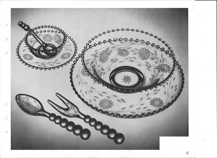 Candlewick by Imperial Glass pg. 17  3pc mayonnaise (bowl, plate and spoon) 4pc. salad set