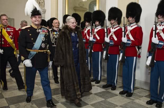 Danish Royal Life Guards; HRH Queen Margrethe, Henrik & Frederik