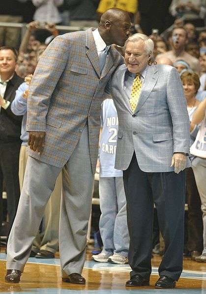 Just Dean Smith and MJ...I am not a UNC fan anymore, but I was their biggest fan when MJ played for them.  I was just a little thing and got all into those games.  Got out my blue pom-poms every game! ; )  This pic pulls at my heart strings. <3
