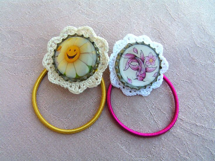 New lace decorated rubber rings:  Smiling marguerite and koi fish