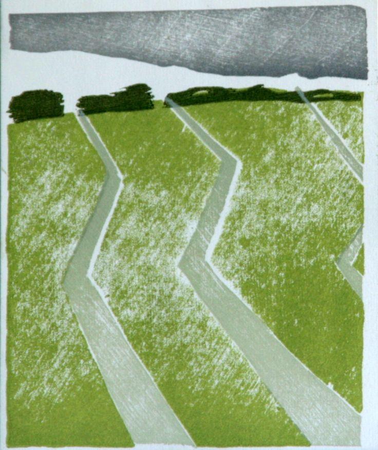 How the water ways wind to the horizon | www.lotjemeijknecht.nl #dutch #polder #landscape #green #woodcut #water #ditch #manmadelandscape #art #originalprint