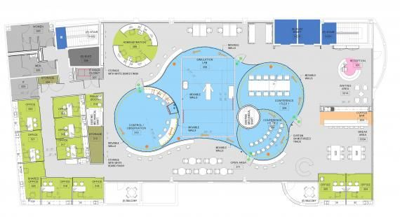 The final floor plan shows the central simulation, control, research, and conference functions. The main simulation space has moveable wall panels that are double layered. The inside layer is made of large peg board-type grid surfaces to bolt on equipment, while the outer layer is made of large semi-translucent privacy panels. Each section can be removed or re-positioned as desired. Plan by Yazdani Studio of CannonDesign.
