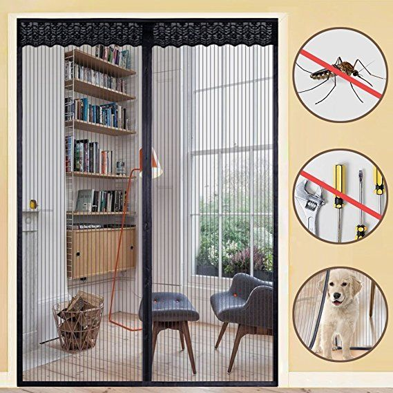 Magnetic Fly Screen Door Mesh Bug Curtain With Lace Top To Bottom