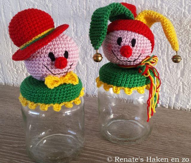 Gratis patroon potje Clown (en link naar gratis patroon potje met narrehoofd) / free pattern jar with Clown (and link to free pattern jar with jester)