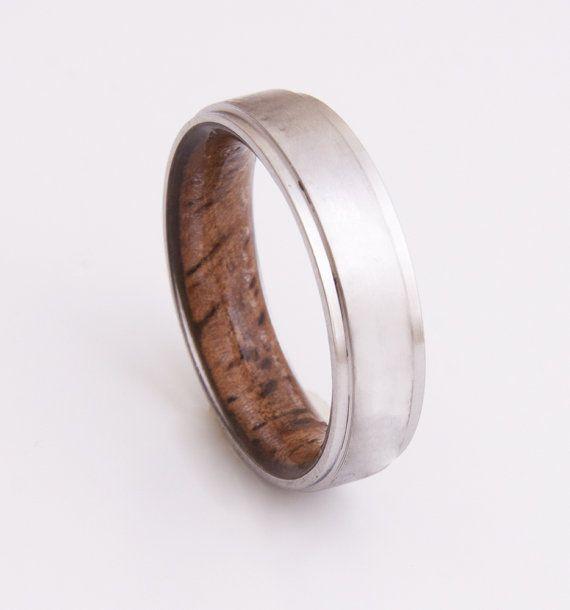 Titanium and Koa ring // Mens Wood Rings //wood Wedding Band //Men's wedding Band