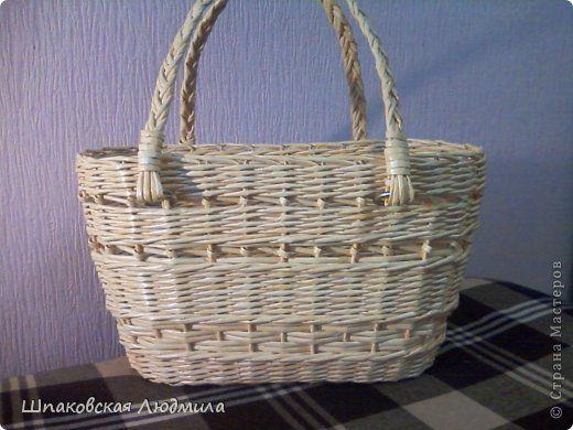 Поделка изделие Плетение И у меня есть сумочка-корзинка Бумага газетная Трубочки…