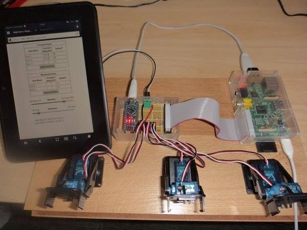 """Raspberry Web server sending GET data to Arduino Nano driving 6 servos  This is a small project I did for a colleague who is building a 1/48 scale RC model of a Fletcher class Destroyer (yup…that makes the """"model"""" about 8 feet long!) He asked if I   for more detail: http://projects-raspberry.com/raspberry-web-server-sending-get-data-to-arduino-nano-driving-6-servos-3/ like and share: Raspberry Pi Projects and Resources keep visiting: http://projects-raspberry.com/ #thearduinoshop"""