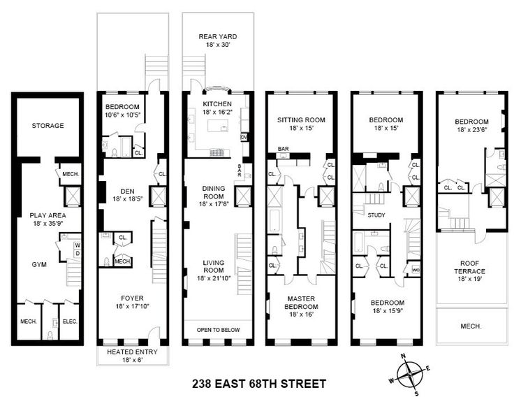 102 best images about townhouse floor plans on pinterest for Floor plans manhattan apartment buildings