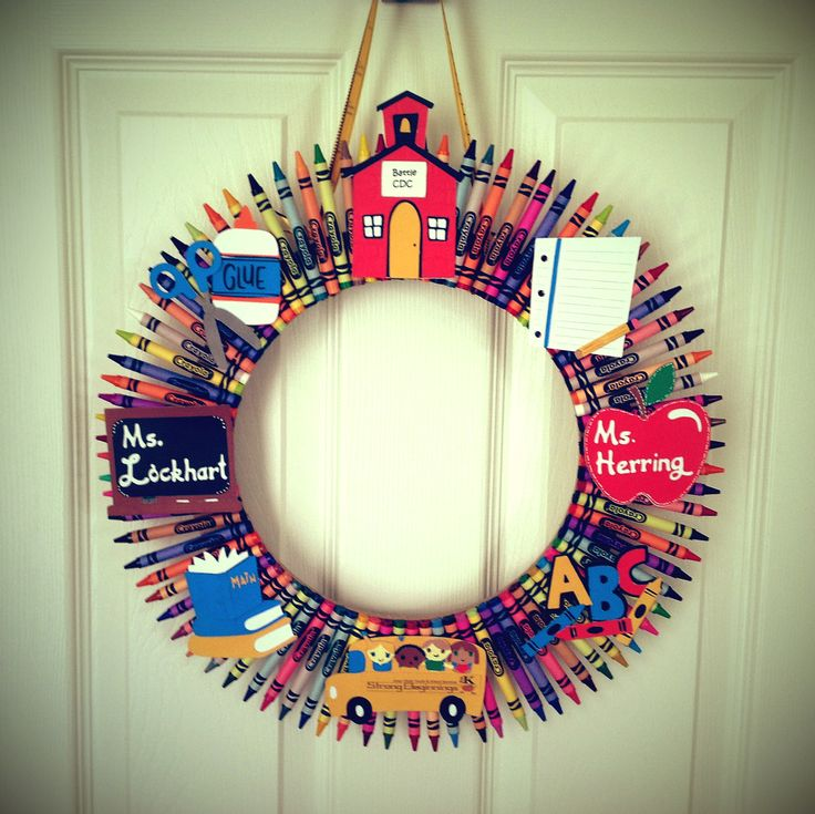 Crayon Wreath - Scrapbook.com Very cute teacher gift idea!
