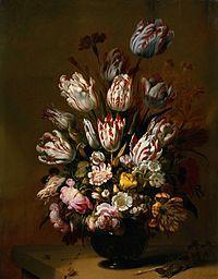 Bloemstilleven;met allerhande bloemen,soms omgeven door vlinders.Betekenis:de vergankelijkheid, maar ook bewondering voor de schepping.