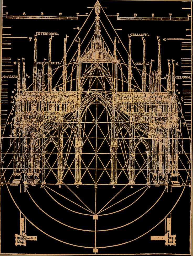 """americaneldritch:  Latent Geometery in ecclesiastical gothic architecture; from """"The beautiful necessity; seven essays on theosophy and architecture"""" by Claud Fayette Bragdon, 1920."""
