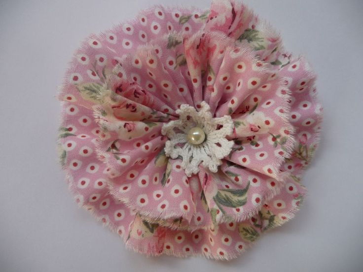 Shabby Blume Blüte Rose romantisch Vintage Perle Spitze Applikation Handarbeit