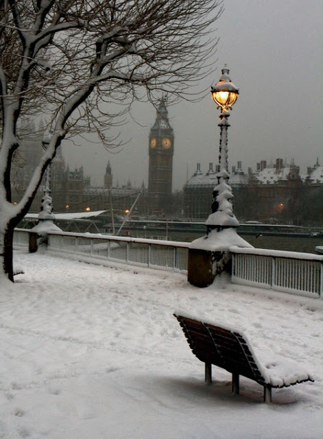 Snowy Night, London, England ~ Amazing Places