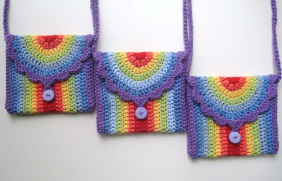 INSTANT DOWNLOAD Crochet PDF Pattern Rainbow bag, girl, purse, long strap, cute, uk and us crochet terms, No14 via Etsy