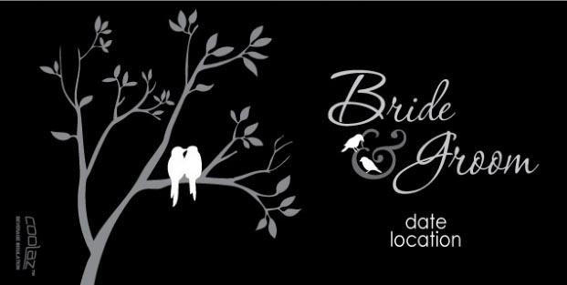 Cartoon - Love Birds Silhouette 2 Cartoon Wedding Koozie
