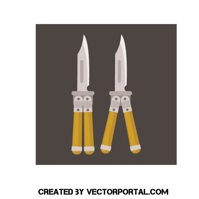 Butterfly Knife Vector Clip Art Clip Art Vector Free