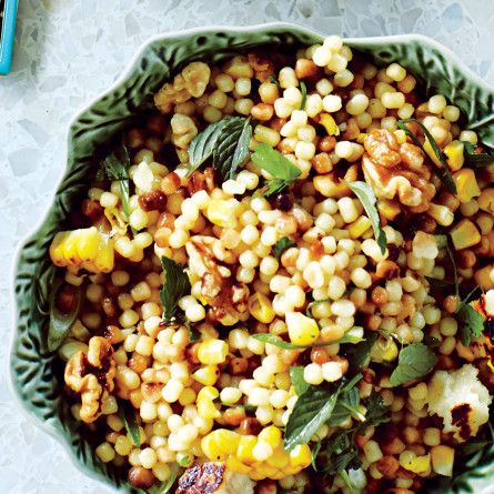 Corn and Fregola with Grilled Halloumi Cheese, Bon Appetit July 2015