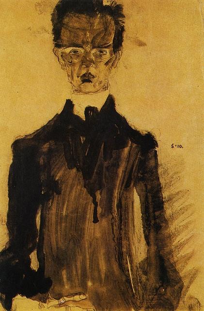 Egon Schiele, Self-Portrait with Black Suit, 1910, Vienna, Leopold Museum by renzodionigi, via Flickr