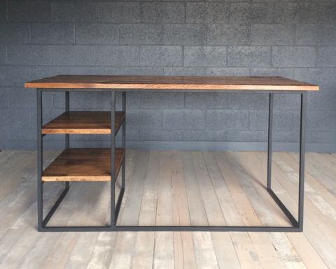 Oak and steel office desk