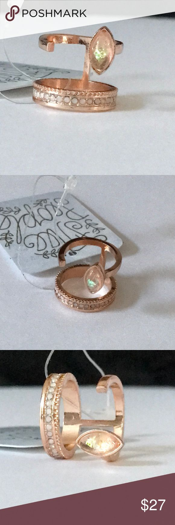 Free People rose gold fire opal open ring 6 Free People rose gold crystal open style ring. Sold out style. NWT size 6 Boho style, nice neutral tones, wear with everything. Free People Jewelry Rings