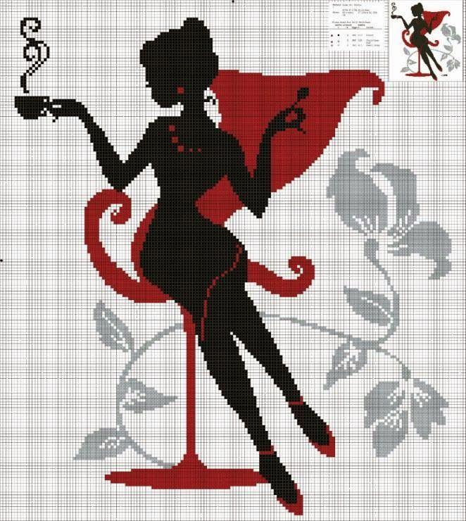 0 point de croix silhouette noir et rouge fille buvant café - cross stitch black and red girl drinking coffee