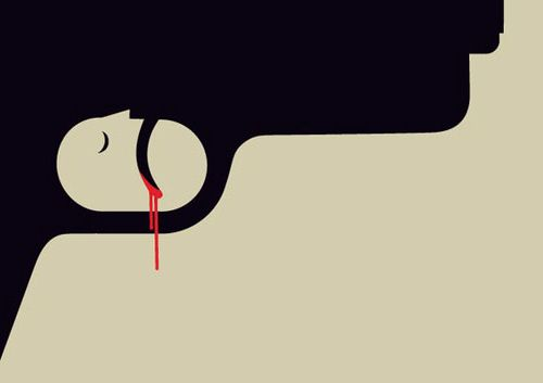 Gun Crime (2010), illustrated by Noma Bar, is a commentary on the tragic toll of gun-related violence in the UK. The trigger serves as the mechanism and outcome of gun attacks.