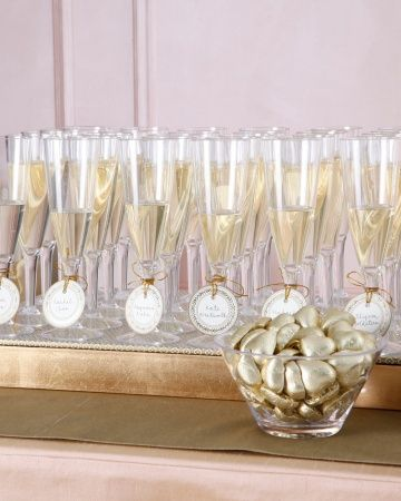 Seating cards that come with a glass of bubbly! #LetsCelebrate @Martha Stewart Weddings Magazine