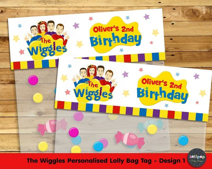 The Wiggles Personalised Lolly Bag Tags - Printed or Digital - Ship Worldwide.  Visit www.lollipoppartysupplies.com.au