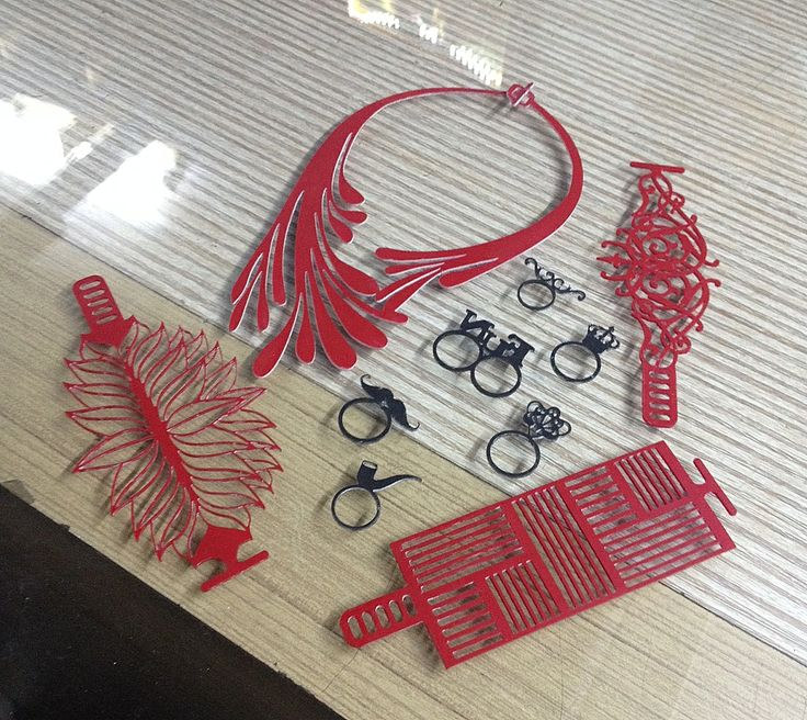When accessories come out of a laser cut printer, they look like this. Then we wash them and it's all ready to wear. #accessories #jewelry #rubber #lasercut #new