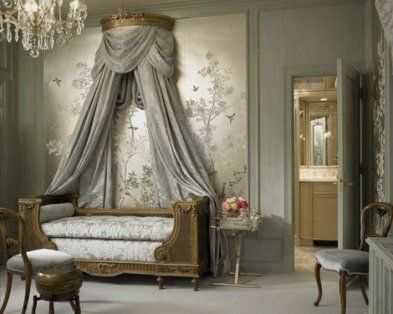 Toile French bedroom | For an opulent touch, highlight the grey with silver. This brings ...