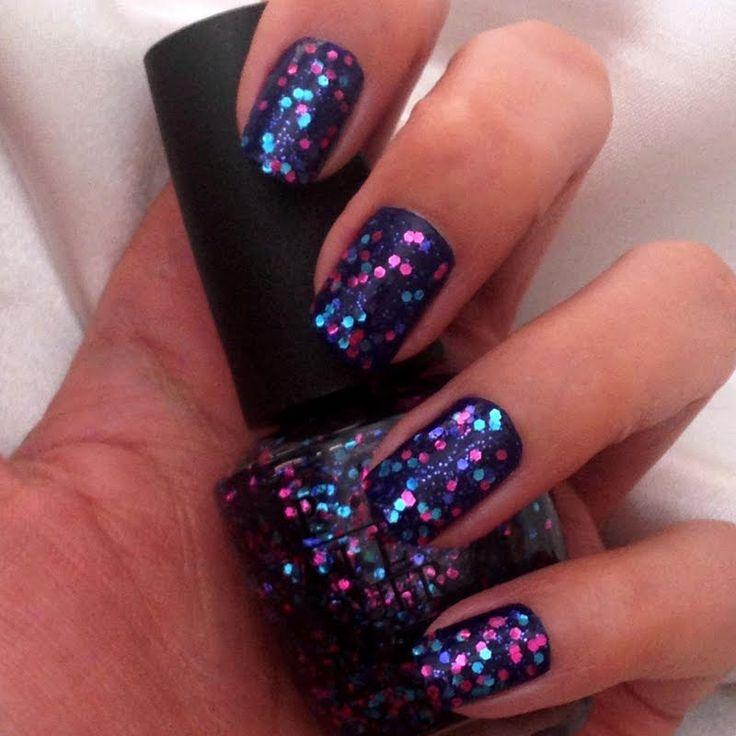 Blue & Pink Glitter Nails