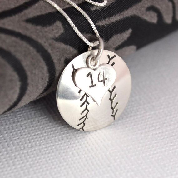 Hand-Stamped Baseball Necklace with Heart Charm stamped with Number <3